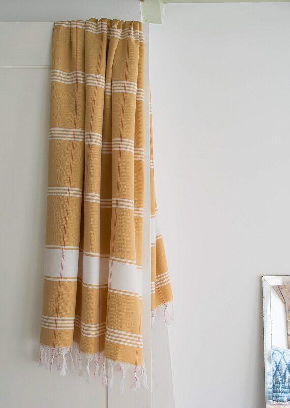 Kollane ökopuuvillast hammam rätik