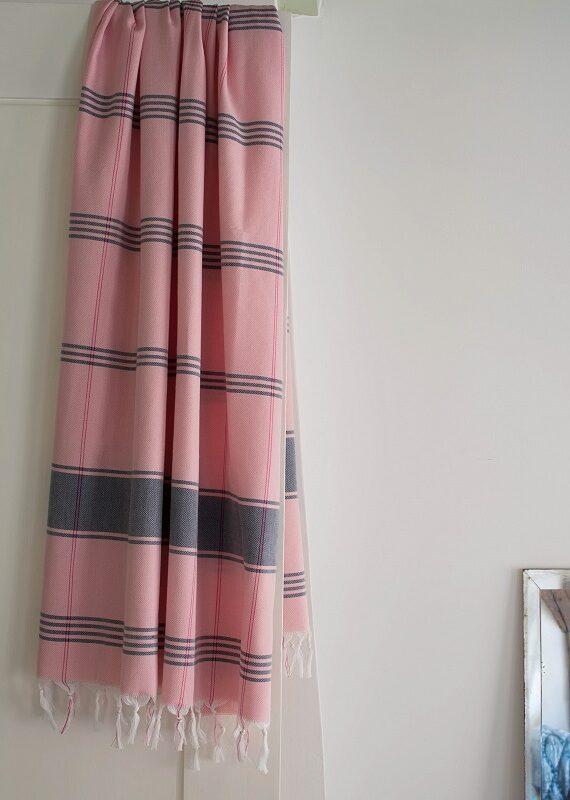Roosa ökopuuvillast hammam rätik