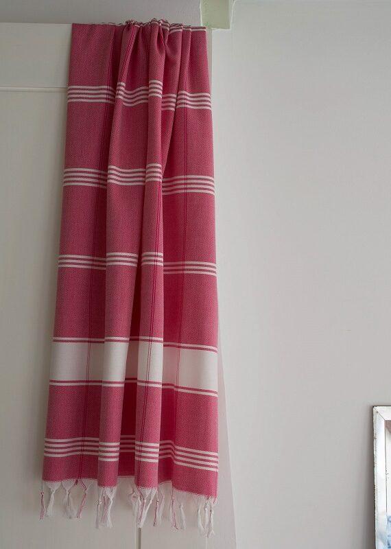 Punane ökopuuvillast hammam rätik