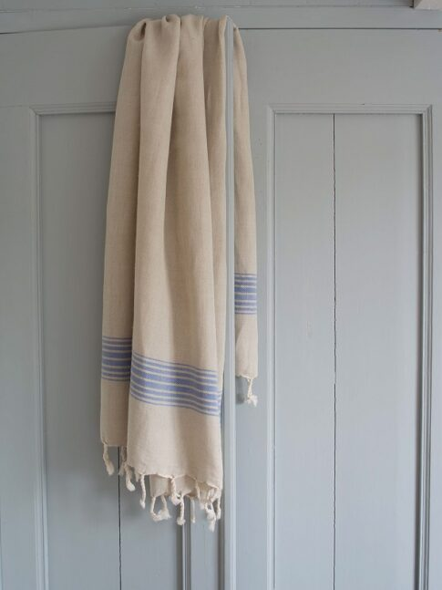 Kreeka siniste triipudega linane saunalina 2