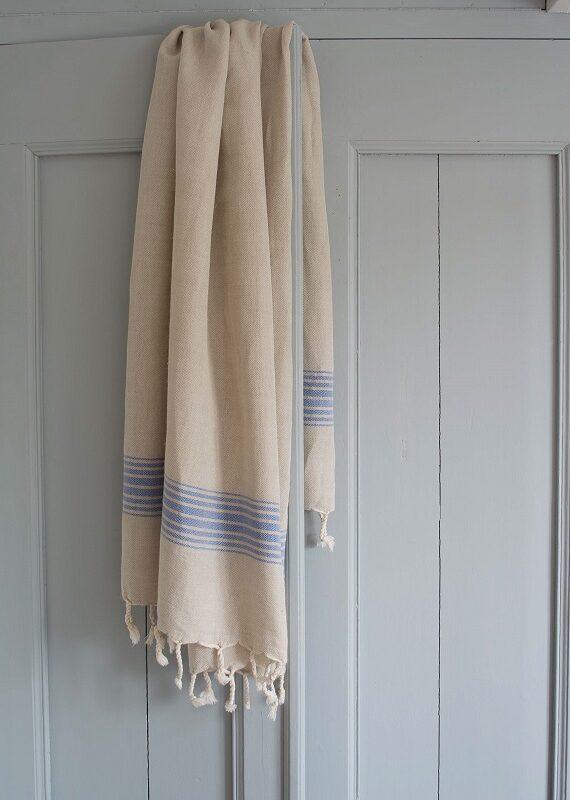 Kreeka siniste triipudega linane saunalina