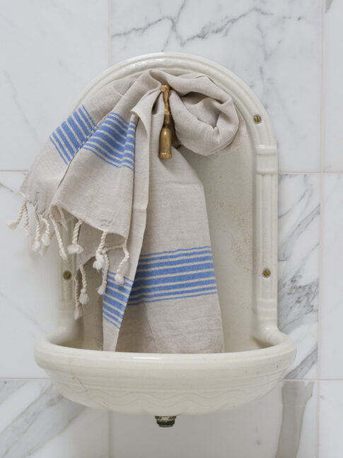 Kreeka siniste triipudega linane vannirätik 3