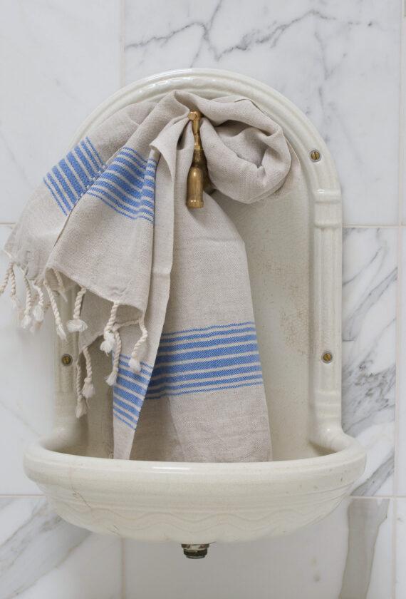 Kreeka siniste triipudega linane vannirätik