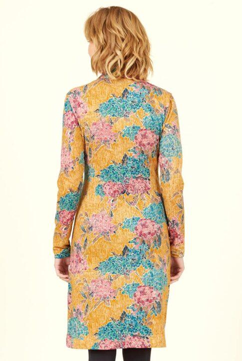 Sinepikollane mustriline ökopuuvillast küljelt volditud kleit tagant