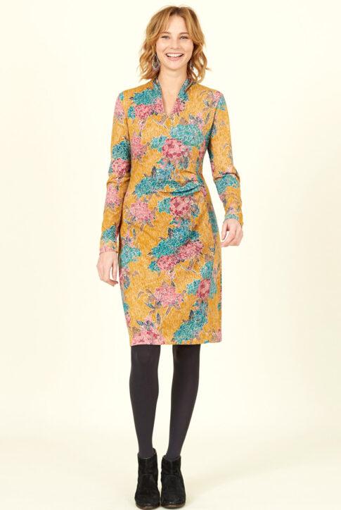 Sinepikollane mustriline ökopuuvillast küljelt volditud kleit