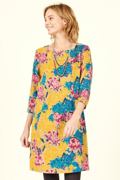 Sinepikollane mustrilisest puuvillasest velvetist kleit-tuunika eest