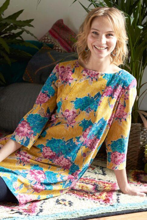 Sinepikollane mustrilisest puuvillasest velvetist kleit-tuunika