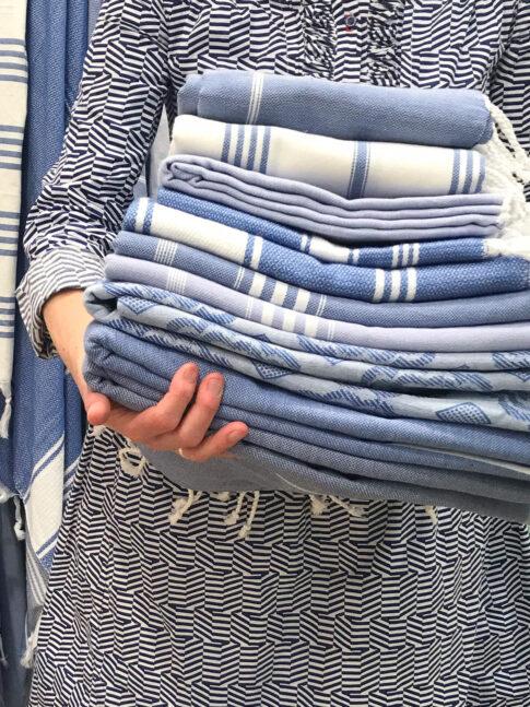 Puuvillane saunalina, sinised ja hallid toonid