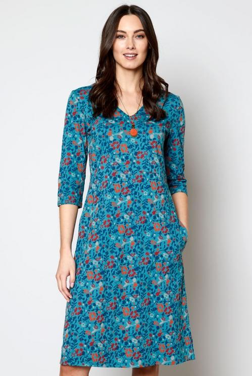 Kolmveerand varrukatega ökopuuvillast kleit
